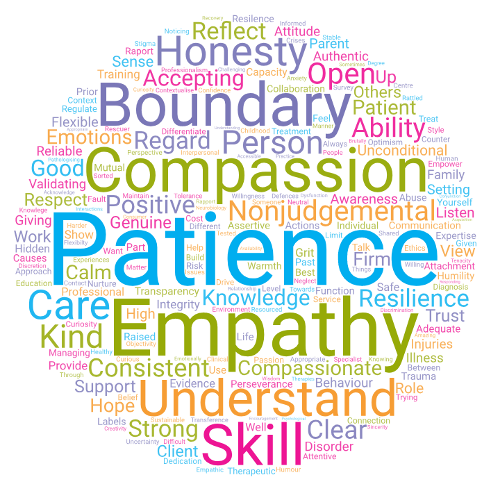 Word cloud of qualities participants identified as being integral