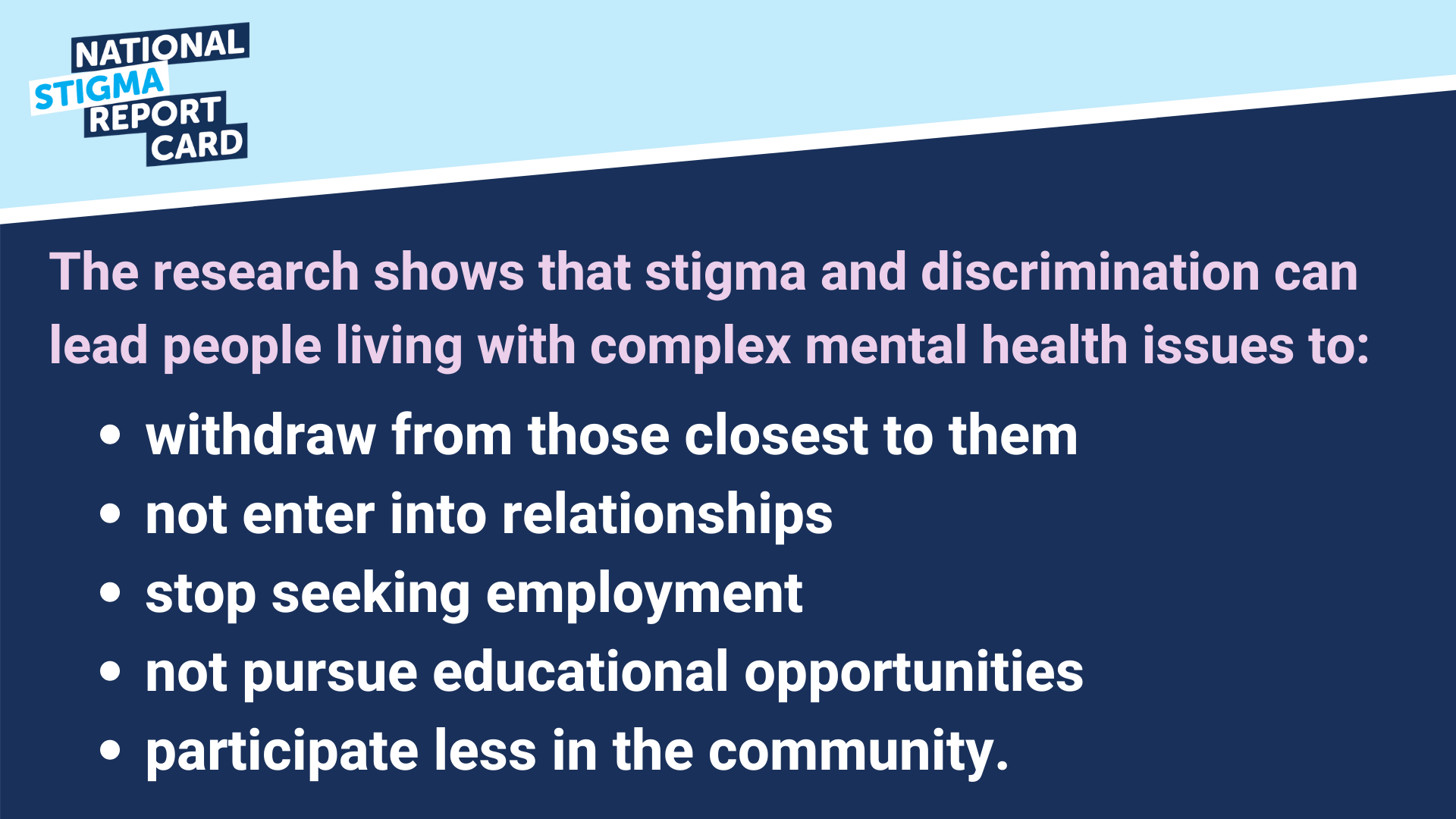 Stigma & discrimination can lead people with to withdraw from their communities.