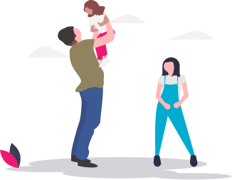 illustration father with children