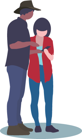 Illustration of a rural man and woman looking at mobile