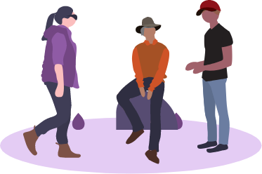 illustration two men and a woman talking around camp