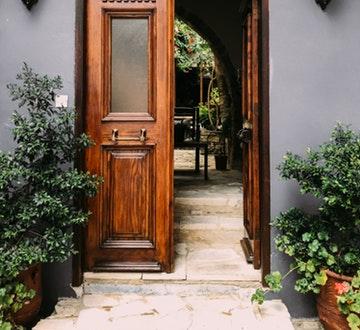 Back door opening on to garden