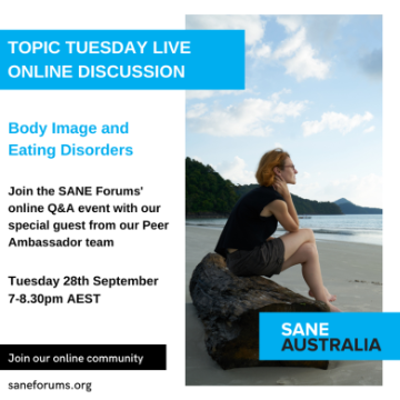 Topic Tuesday // Body Image and Eating Disorders // Tues 28th September, 7:00-8:30PM AEST