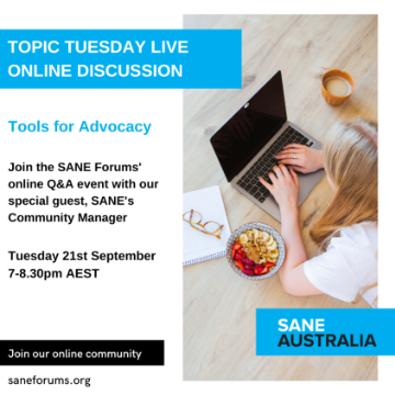 Topic Tuesday // Tools for Advocacy // Tues 21st September, 7:00-8:30PM AEST